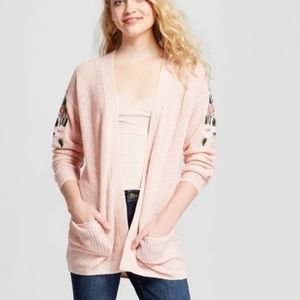 Mossimo pink embroidered cardigan size small